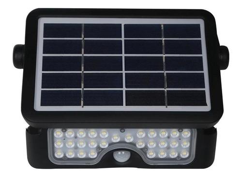 Projetor Led Solar Demi Preto 360 Led 3000k Ip65 Com Sensor