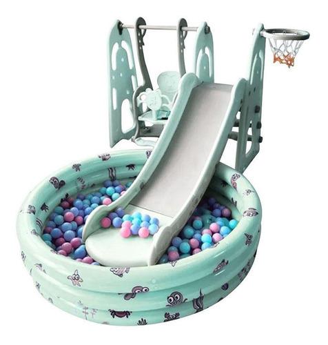 Playground 4x1 Balanço Escorregador Baquete Piscina Infantil