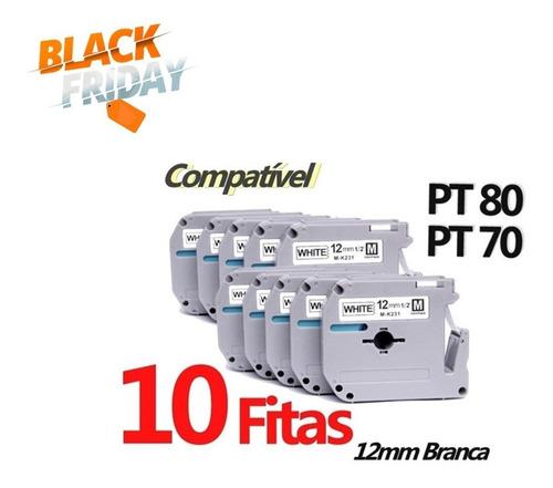10x Fita Compativel P/ Uso Rotulador Brother Pt-70 Pt0 Mk231