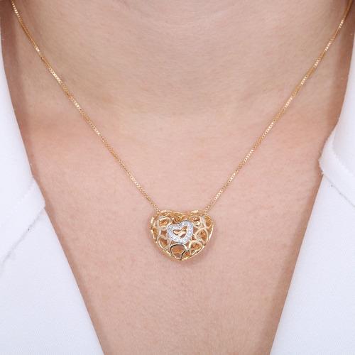 Colar Coração Vazado Folheado Ouro 18k E Ródio Semijoia Fina