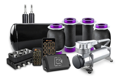 Suspensão Castor | Kit Air Ride Black C/ Cilindro Aluminio
