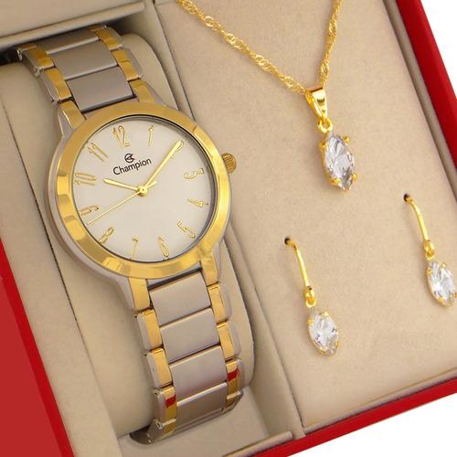 Relógio Champion Feminino Dourado Colar Brincos E Pulseira