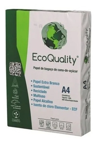 Papel Sulfite A4 Eco Qualit 1 Resma / Pacote Com 500 Folhas