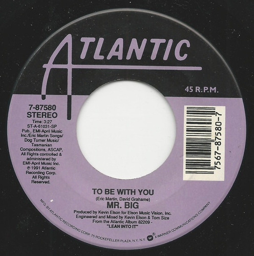 Mr Big To Be With You Vinilo 7' Simple Usa 1991 Hard Rock