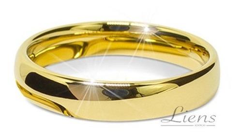 Aliança Ouro 18k Banhada Casamento Tungstênio 4mm