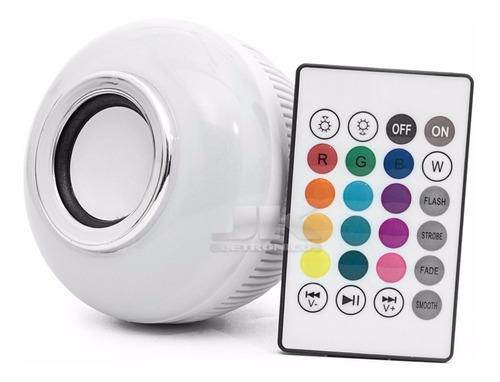 Lâmpada Bluetooth Com Led Rgb Música 12w + Controle Remoto