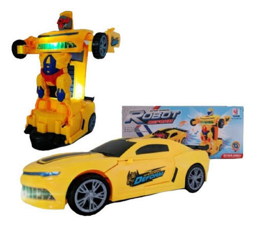 Carro Vira Robo Som Luz Carrinho Bmw Brinquedo Menino  Pilha