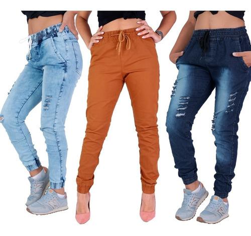 Kit 3 Calça Jeans Feminina Jogger Cos Elastico Camuflada