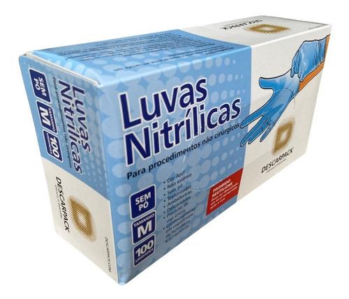Luva Nitrílica Azul Sem Pó Descarpack Cx 100/un Tam M