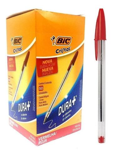 Caneta Vermelha Bic Cristal Média 1.0mm C/50 Unidades