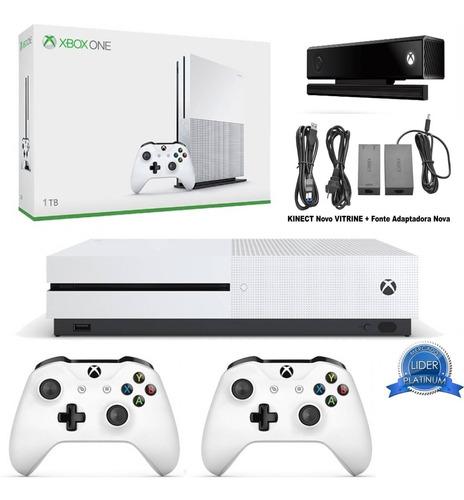 Microsoft Xbox One S 4k 1tb 2 Controles Sensor Kinect Fonte