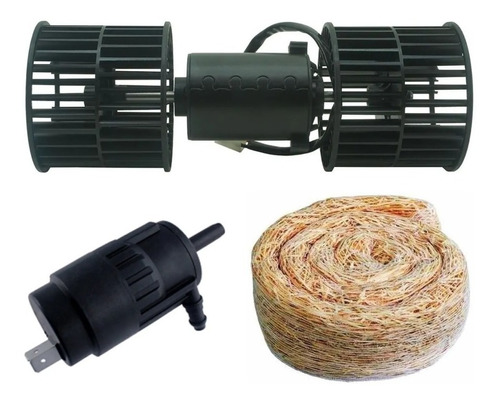 Kit Motor Climatizador + Filtro Palha + Bomba Agua Caminhao