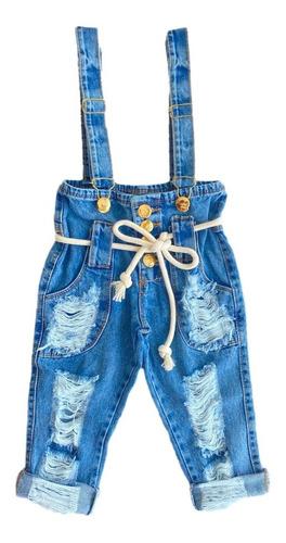 Calça Jeans Salopete Infantil Menina Blogueirinha 2/8 Anos