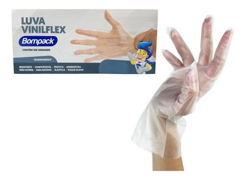 Luvas Vinilflex Descartável Transparente 100 Unidades