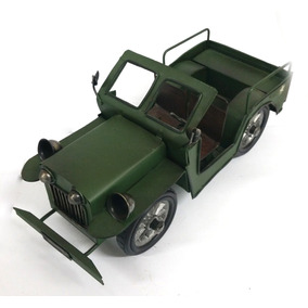Jeep Artesanal De Guerra Decorativo Clássico Verde Militar