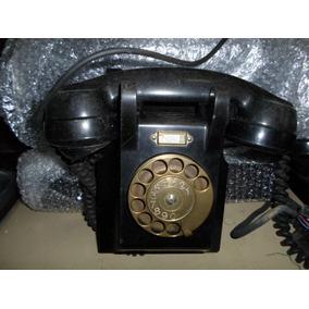 Telefone Antigo Preto De Parede De Bakelite