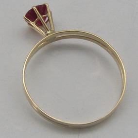 Anel Solitário De Ouro 18k -750 Vermelho Rubi