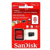 Cartão De Memória Micro Sd 8gb Com Adaptador Sd