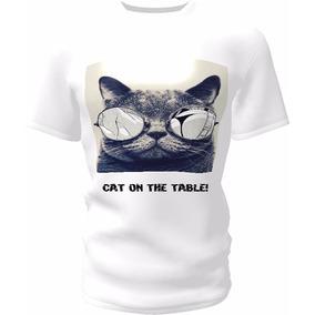 Camisa Estampa Cat On The Table Todos Os Tamanhos