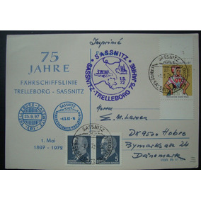 Alemanha 3 Selos 1972 - 75 Jahre Trelleborg - Sassnitz