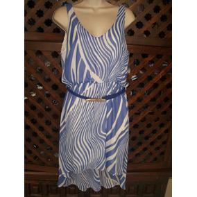 Forever Mona B Vestido Corto Azul-blanco Rayas Talla Grande