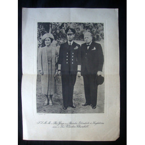 Rei Jorge E Rainha Elisabeth Winston Churchill Inglaterra