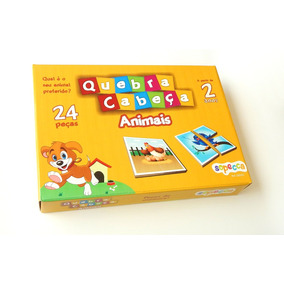 Kit 10 Jogos Educativos Em Madeira Quebra-cabeça Animais