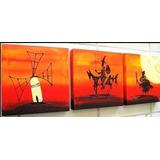 Cuadros Quijote Abstractos Modernos,tripticos Decorativos