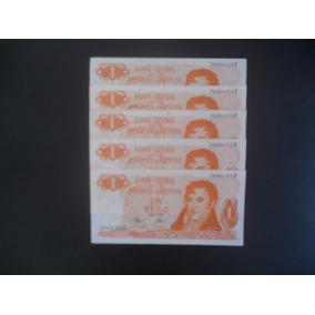Lote De 5 Notas De Um Peso Ley 18188/69 Sequenciais Em Perfe