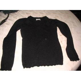 Pullover Sweater Negro Elastizado Con Cuello V En Chenille M 4b30f5597102