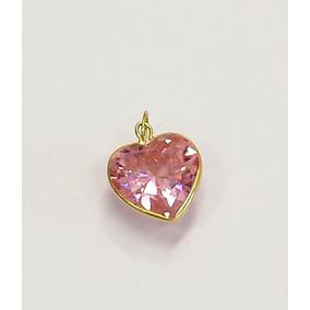 5568069b4dd5f Pingente Coracao Zirconia Rosa - Pingentes no Mercado Livre Brasil