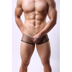 Boxer Negros Cortos Transparentes Sexy Hot Hombre Sensual //