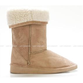 Botas Gamuzadas Con Corderito Camel - La Diosa Shoes