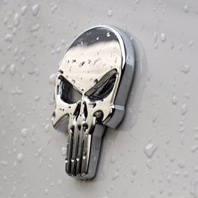 Adesivo Justiceiro Carro Punisher Emblema Metal Cromado Par