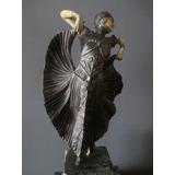 Figura, Escultura Art Deco En Base Pedestal De Marmol