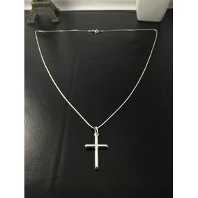 Corrente Cordão Prata Maciça 925 C/ Pingente Crucifixo 45 Cm