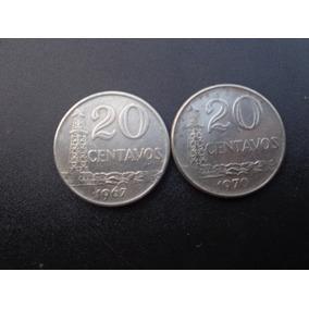 2 Moedas 20 Centavos Cúpro Níquel Anos 1967 - 1970