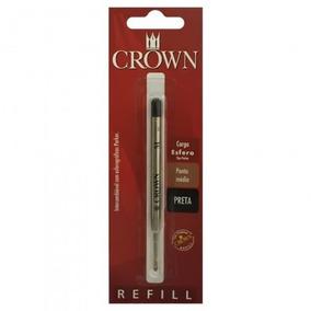 Carga Refil Crown Caneta Esfero Trad Ca14007p Preta Original