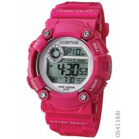 Relógio Esportivo Cosmos Digital Os41388i Cronógrafo Rosa