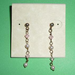 Zarcillos Colgantes Con Perlitas Y Cristales Nuevo