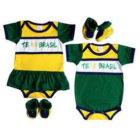 Body Te Amo Brasil Bebê C/ Sapatinho.