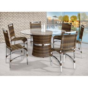 Mesa Jantar 6 Cadeiras Redonda Em Alumínio Fibra Sintética