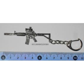 Chaveiro Cromado Carabina Colt M4 - 6,5 Cm De Comprimento