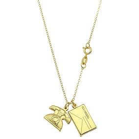 Gargantilha Folheada A Ouro C/ Pingentes Em Forma De Envelop