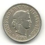 De Colección 2: 10 Rappen Suiza 1883 Cobreníquel Vf+ C904