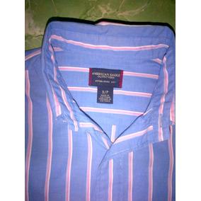 American Eagle Azul Con Rayas Blanco/rosa