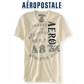 Aeropostale Playera M Mediana Hombre Beige Logo Bordado Ve!!