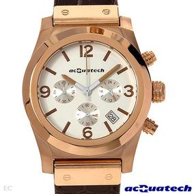 Reloj Acquatech Italiano Hombre En Acero Piel Y Cronografo