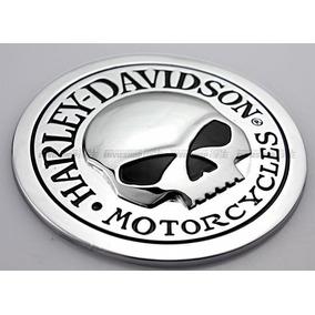 Adesivo Emblema 3d Harley Davidson Caveira Em Metal