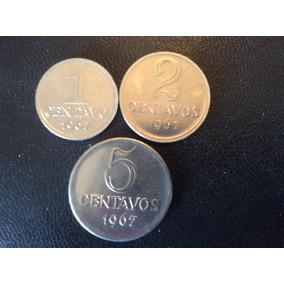Série De 3 Moedas De 1, 2 E 5 Centavos - 1967 - Lindas